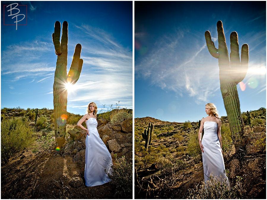 Arizona bride with cactus