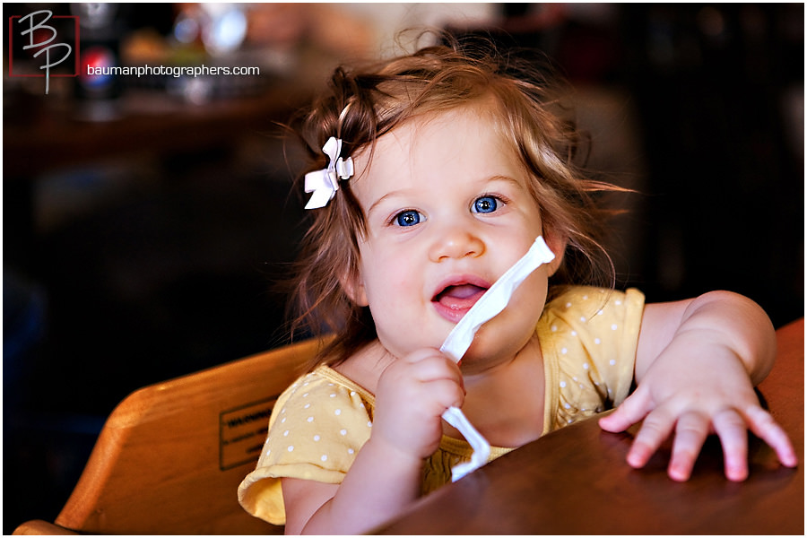 Baby photographs at lunch