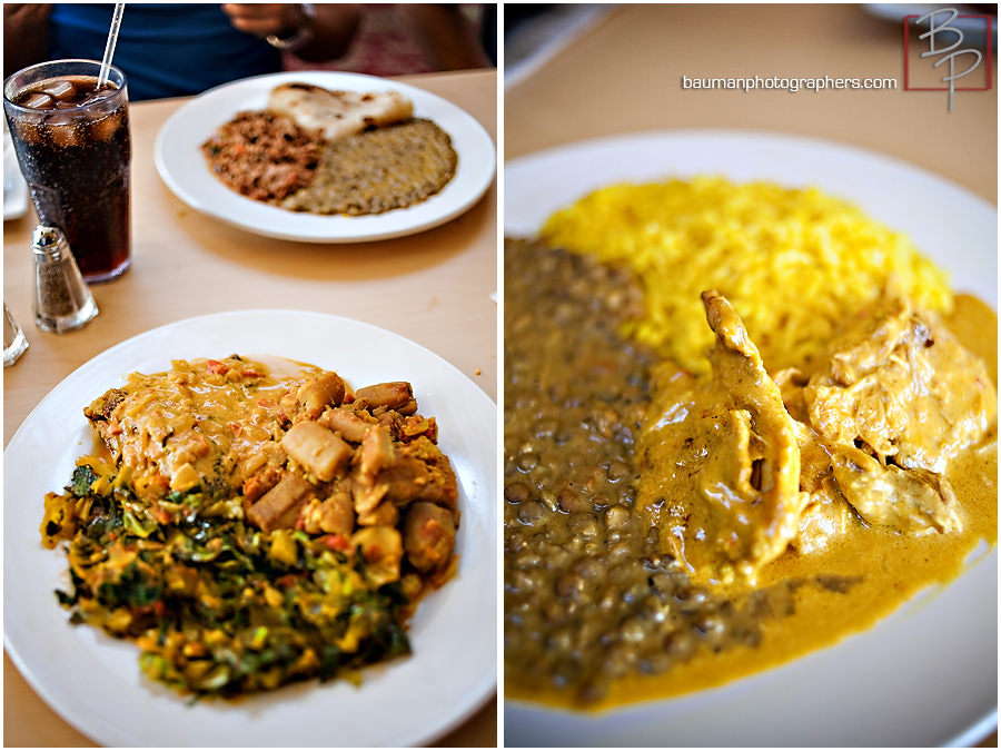 Photographs of lunch meal at Flavors of East Africa in San Diego