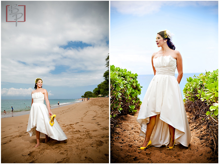 bride on beach in Maui