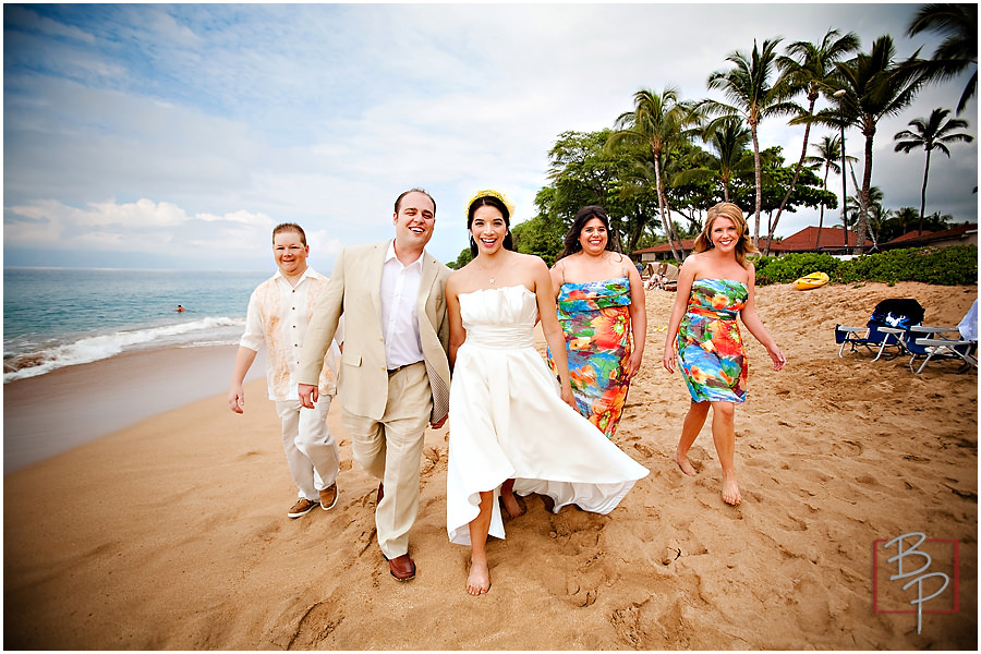 wedding party beach hawaii