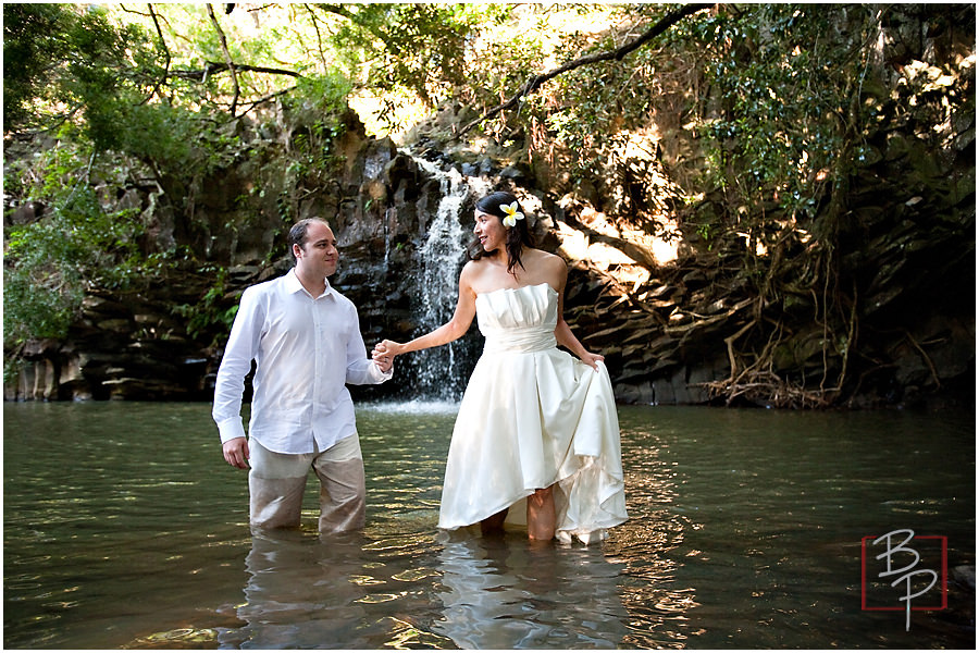 waterfall maui wedding