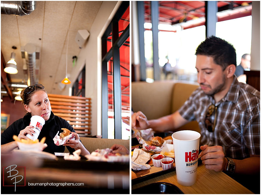 Bauman Photographers eating lunch at The Habit