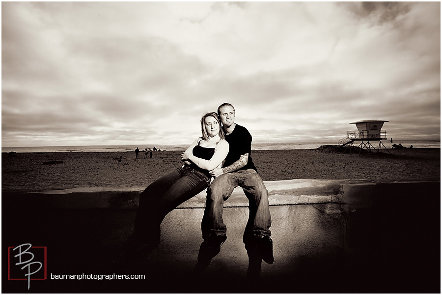Engagement photos in San Diego at mission beach Bauman Photography