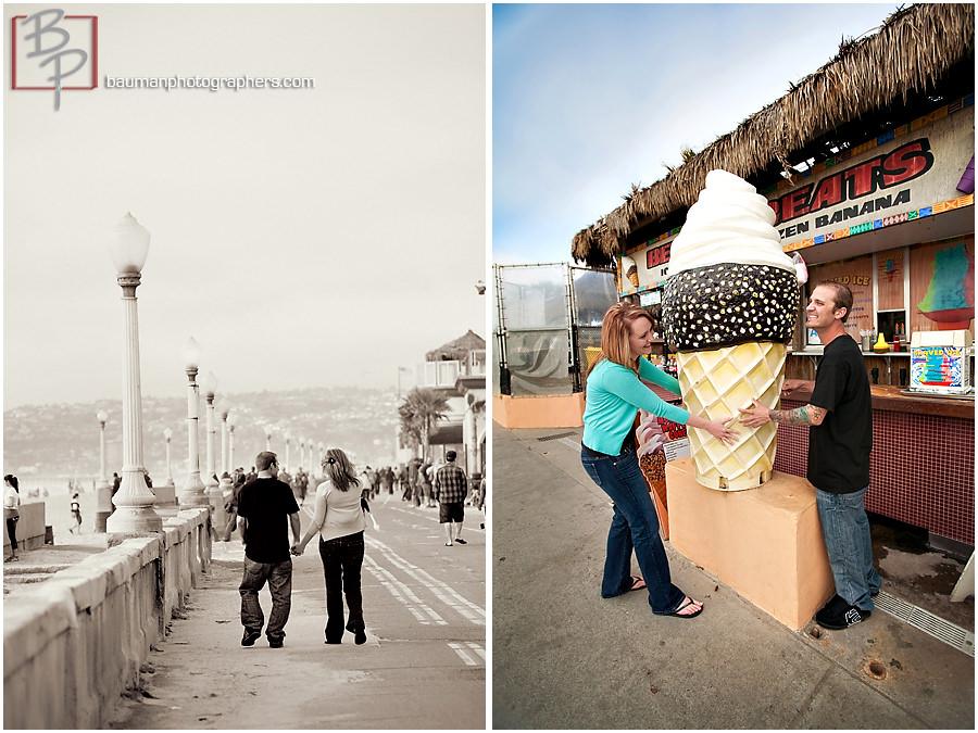 Mission Beach Engagement photo shoot by Bauman Photographers