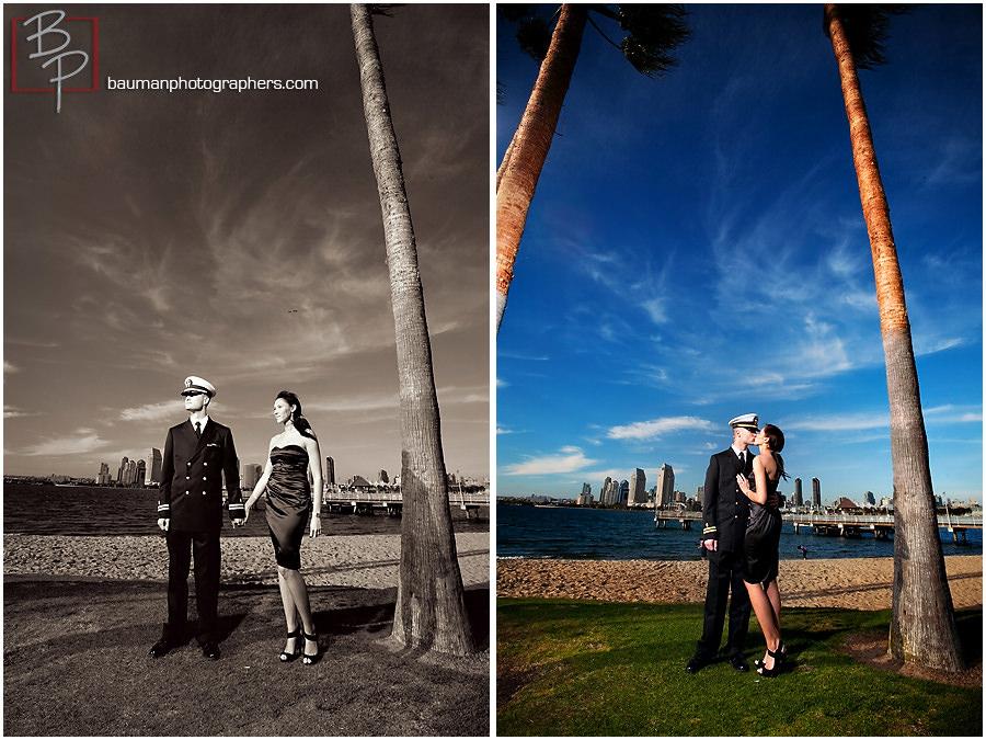 Downtown San Diego skyline, engagement photos