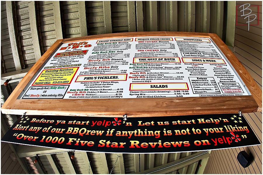 Phil's BBQ menu