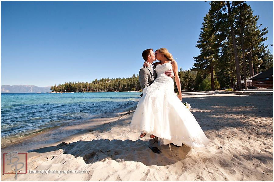 Bride and groom Lake Tahoe wedding photo