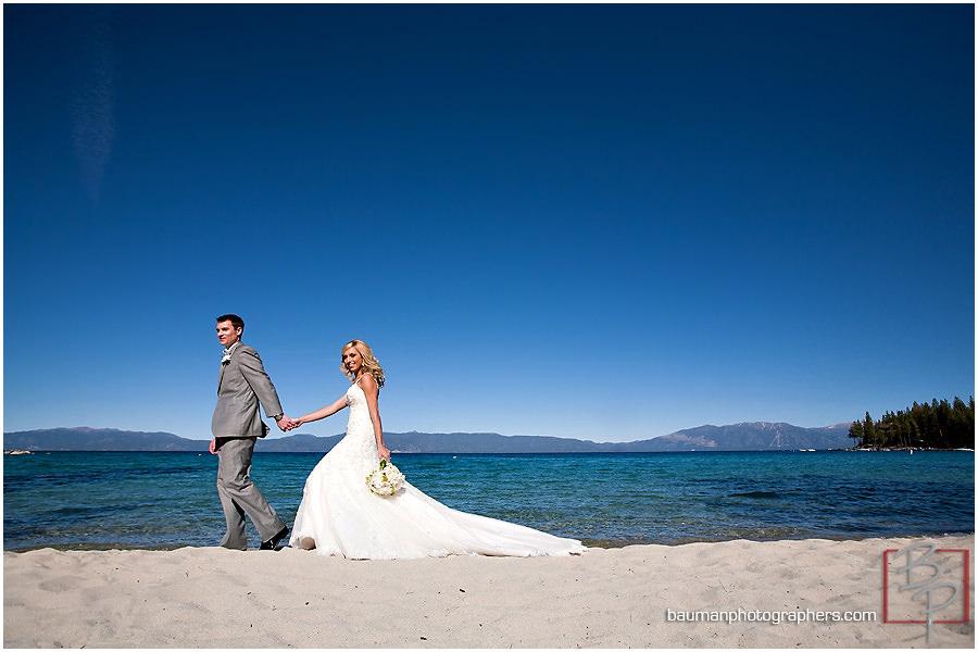 Bride and groom Meeks Bay beautiful wedding photo