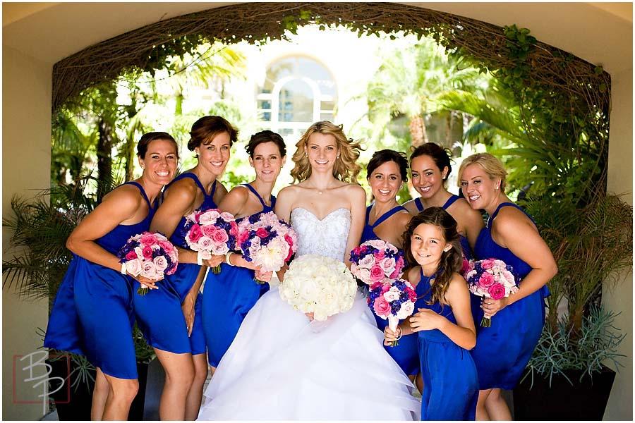 radiant bride with bridesmaids