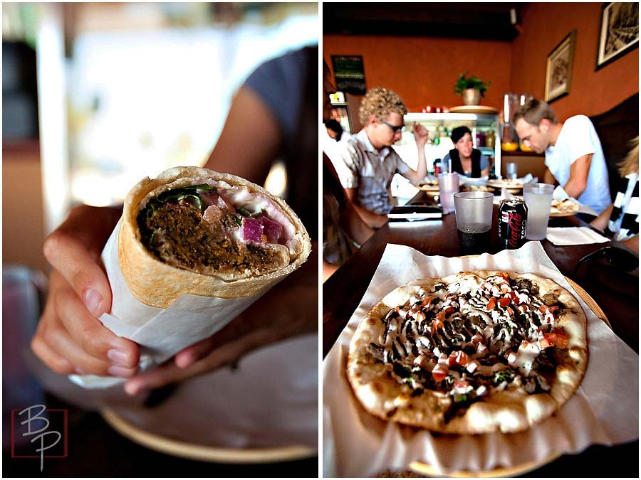 Flat Bread Burrito and Guys Eating at Alfaron Restaurant in San Diego