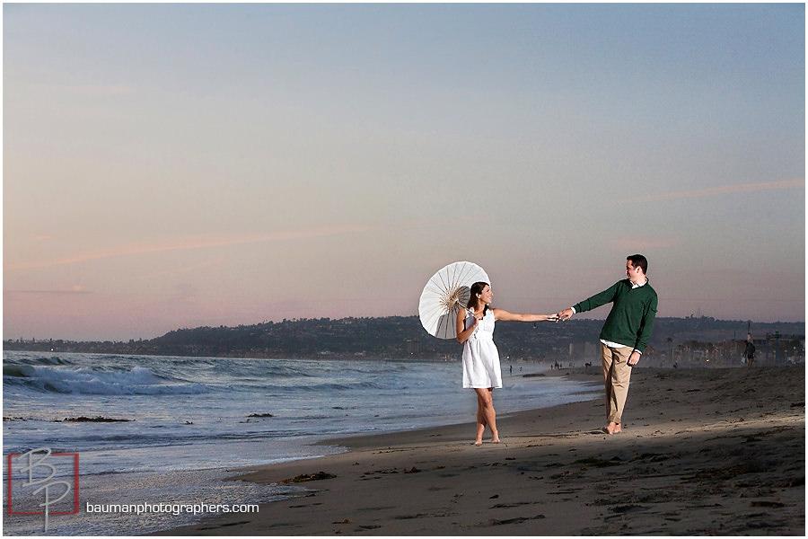 Engagement shoot at Mission Beach, Bauman Photographers