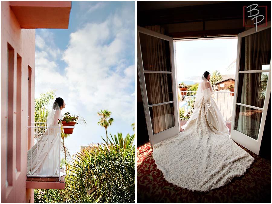Bride photographs at La Valencia Hotel
