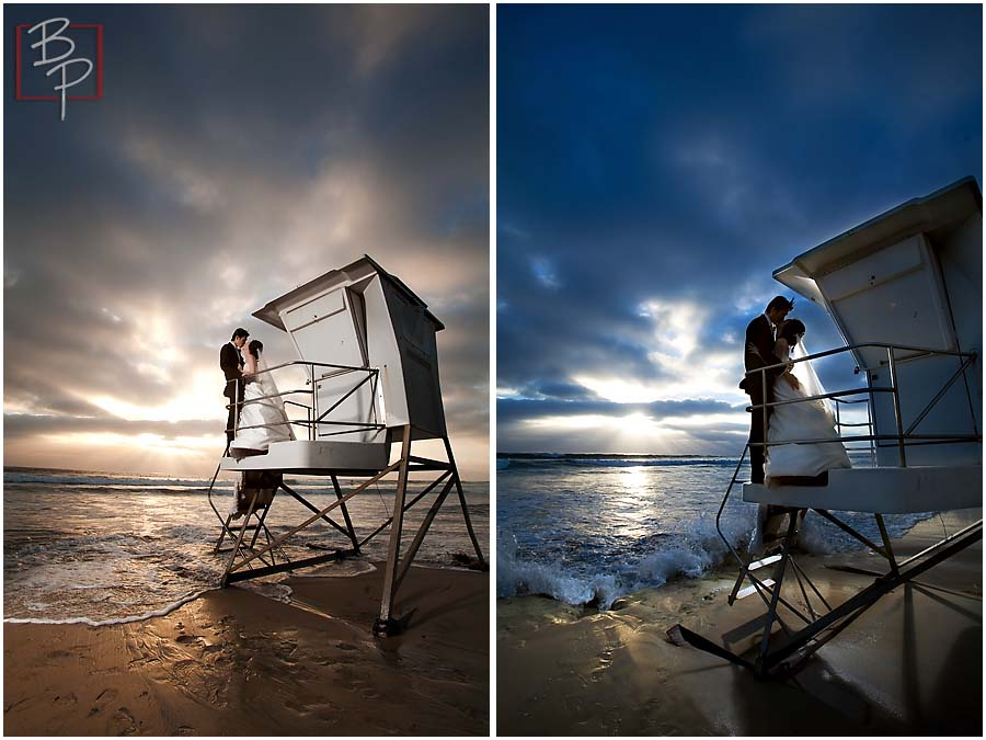 Lifeguard tower wedding photography