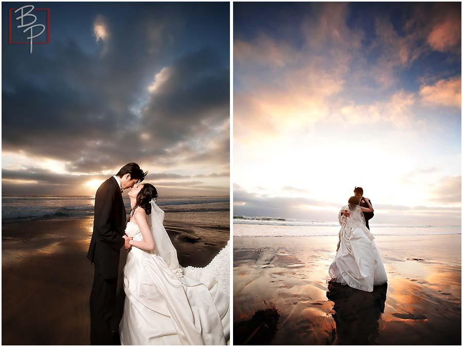 Bride and groom wedding portraits in La Jolla