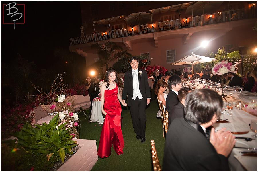 Wedding reception photography at La Valencia Hotel