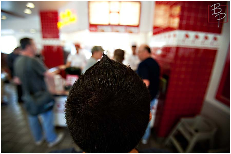 Guy at In N Out Counter Menu