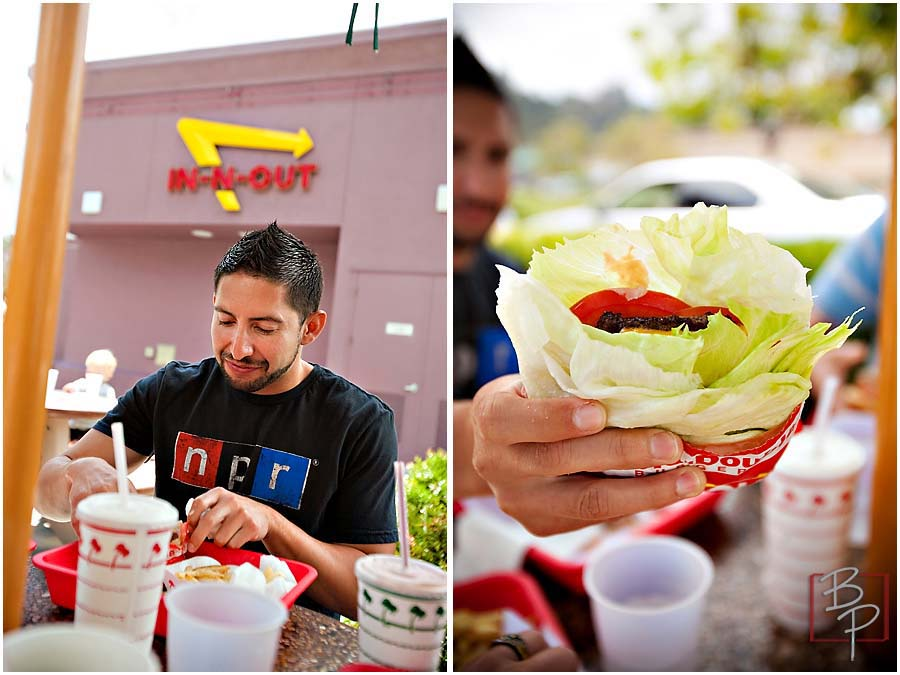 Guy eating at In N Out at Mission Valley