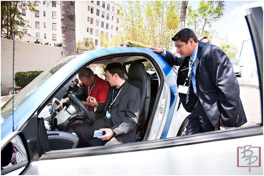 CAR2GO Keynote Speakers trying the car at Ash Street in Downtown San Diego