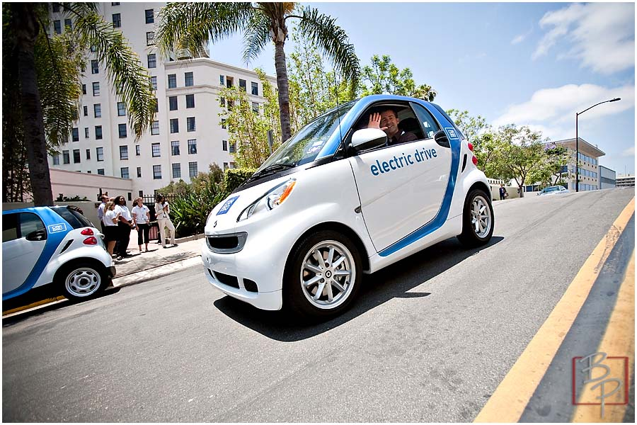 Driving car at Ash Street in Downtown San Diego from CAR2GO Event