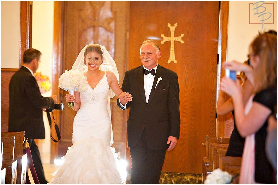 The bride entering with her father