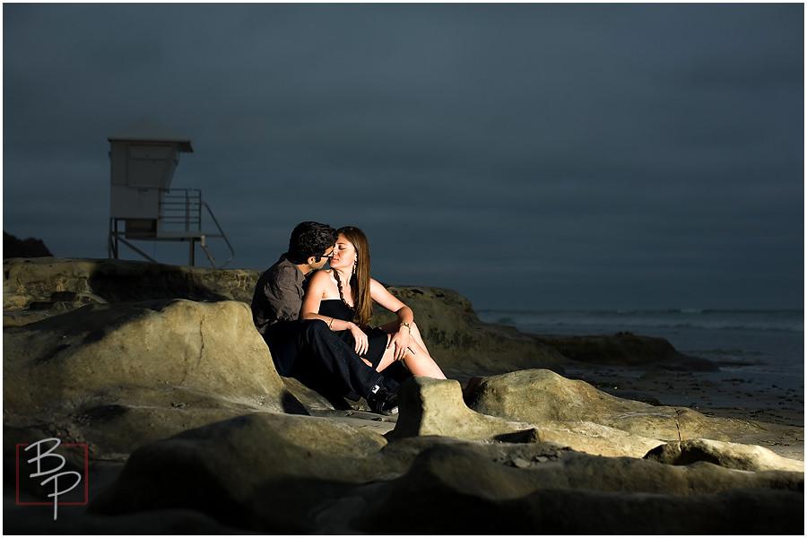 night san diego engagement photo beach