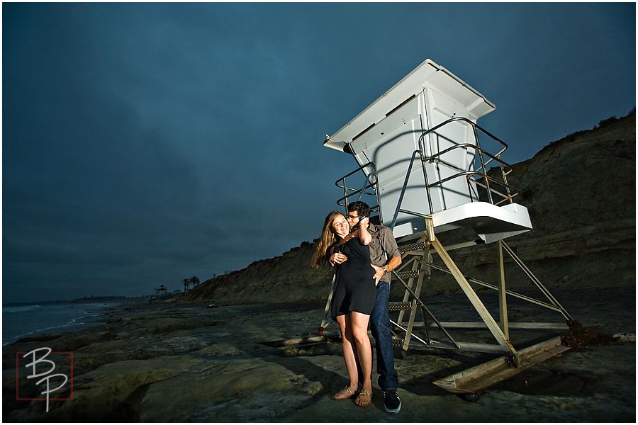 lifeguard tower engagement photo