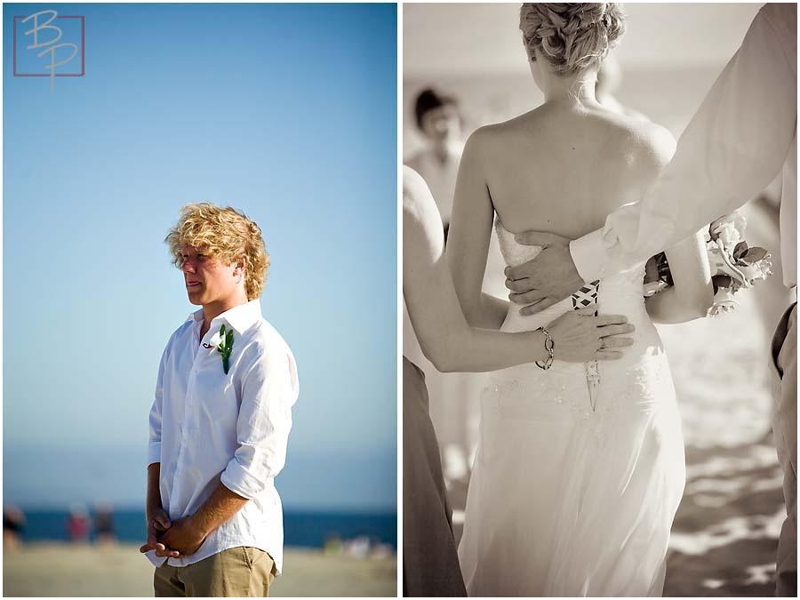 The groom watching the bride arrive