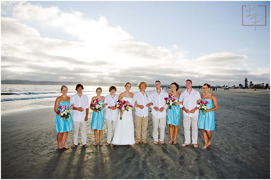 The wedding party on the beach