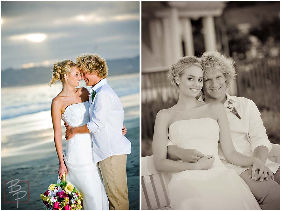 Portraits of the bride and groom on the beach and a bench