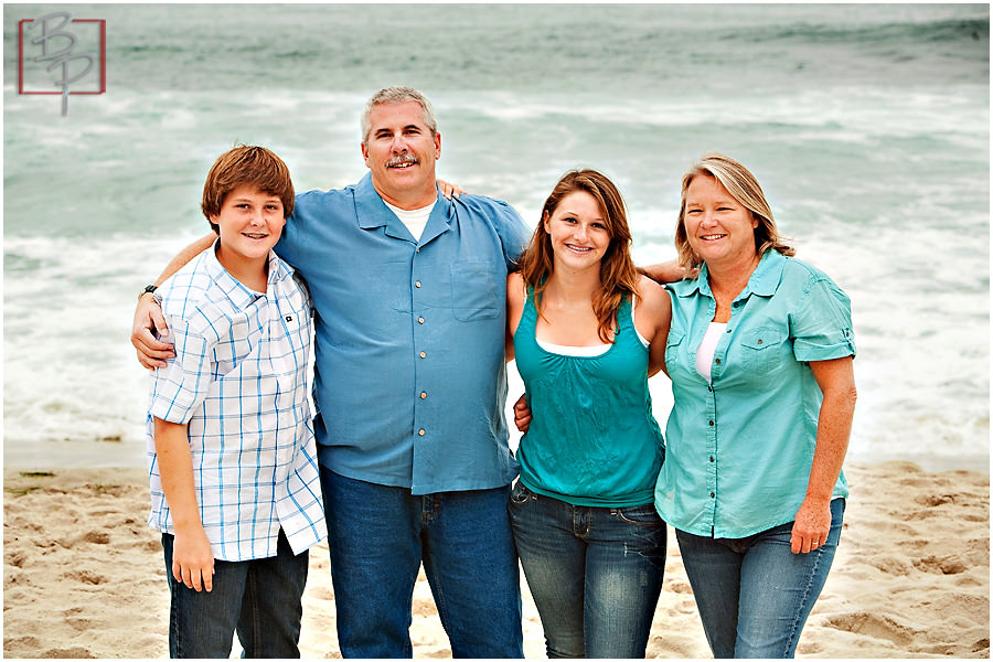 Photos of family on beach in San Diego