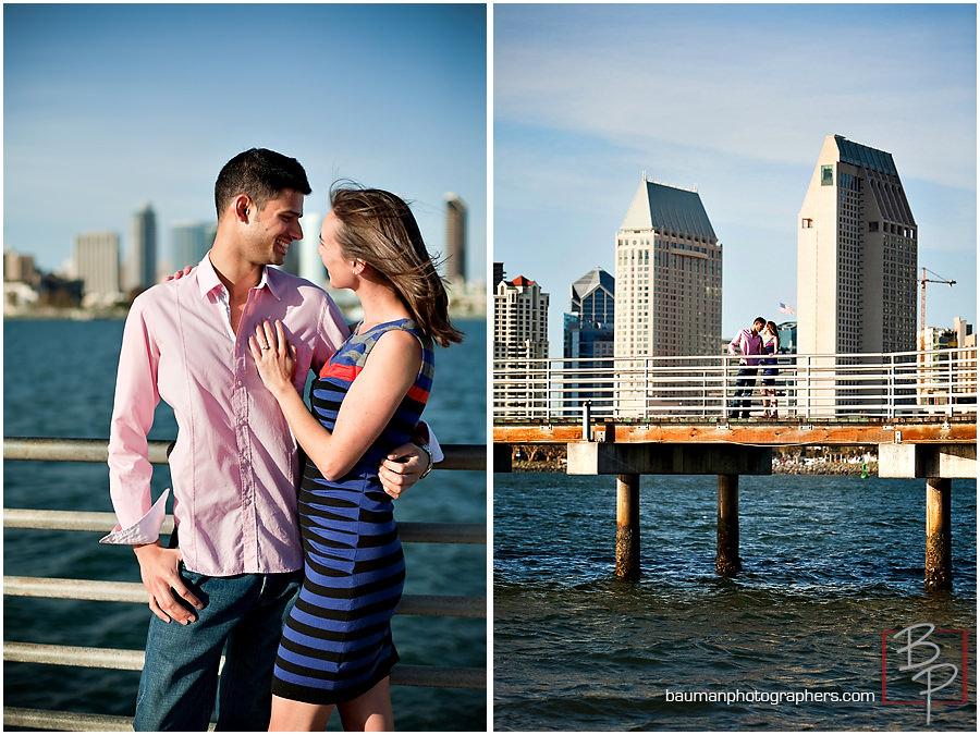 San Diego skyline engagement photos