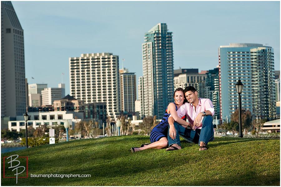 Bauman Photographers engagement photos with San Diego skyline