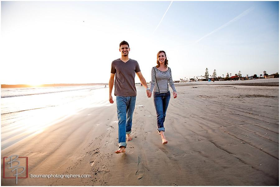 Beach engagement photos at Coronado