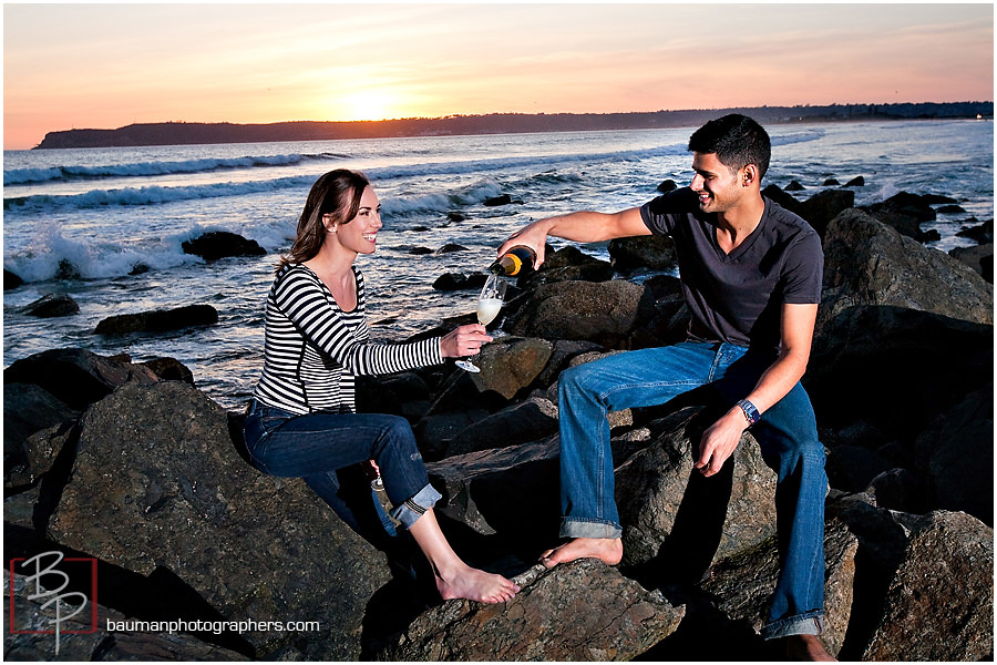 San Diego beach engagement pictures by Bauman photographers