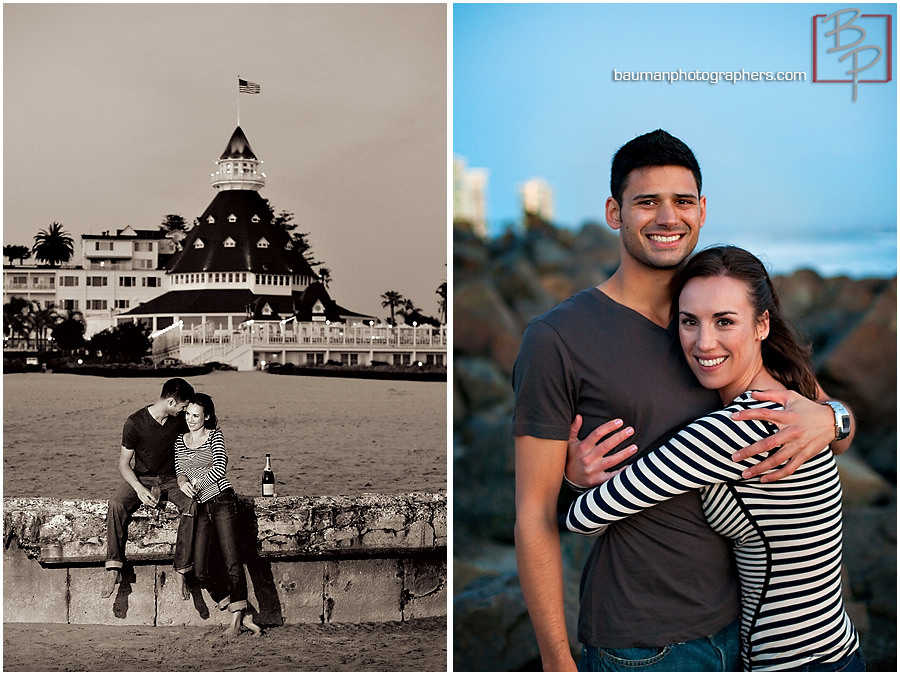 Engagement pictures outside Hotel Del Coronado