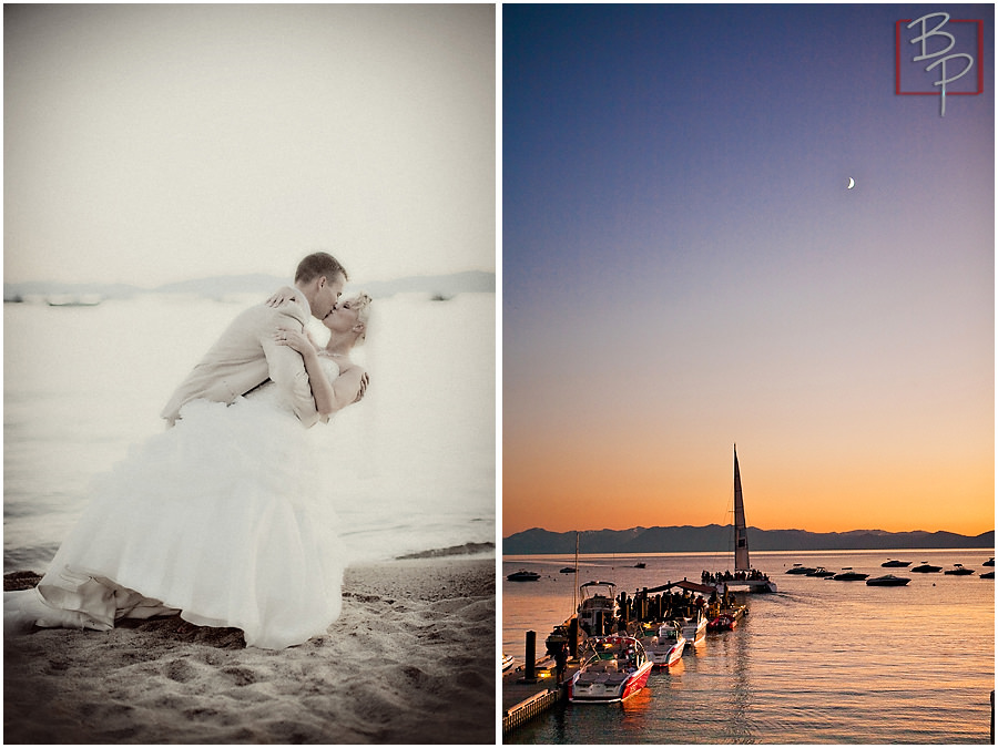 Sunset photography with bride and groom in Lake Tahoe
