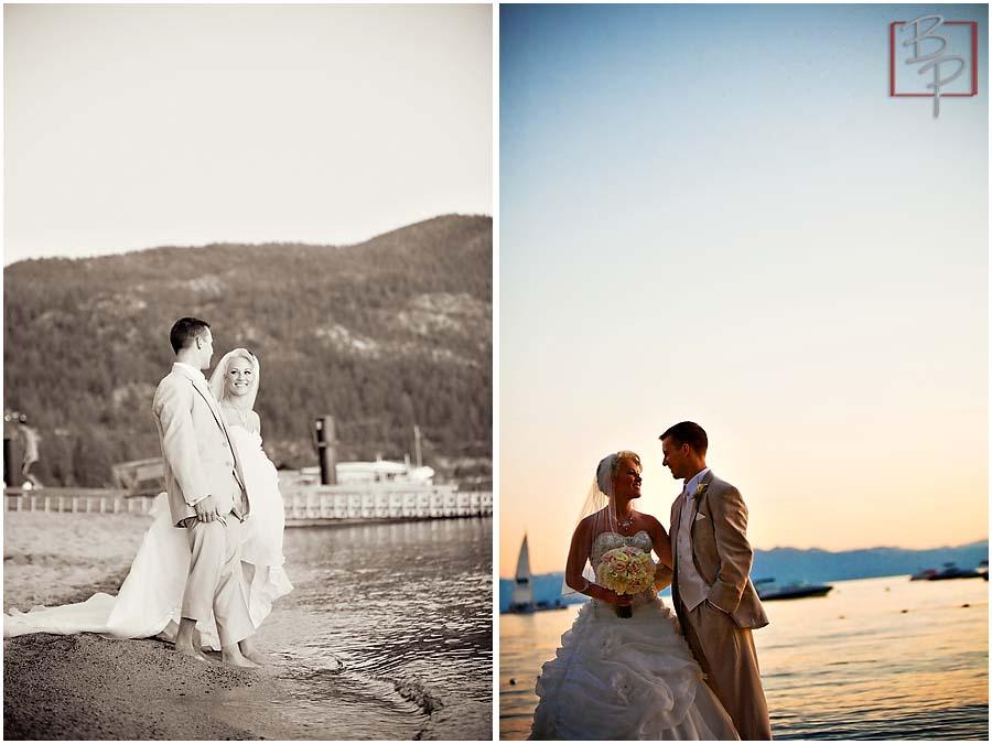 Photography of wedding couple during Lake Tahoe sunset
