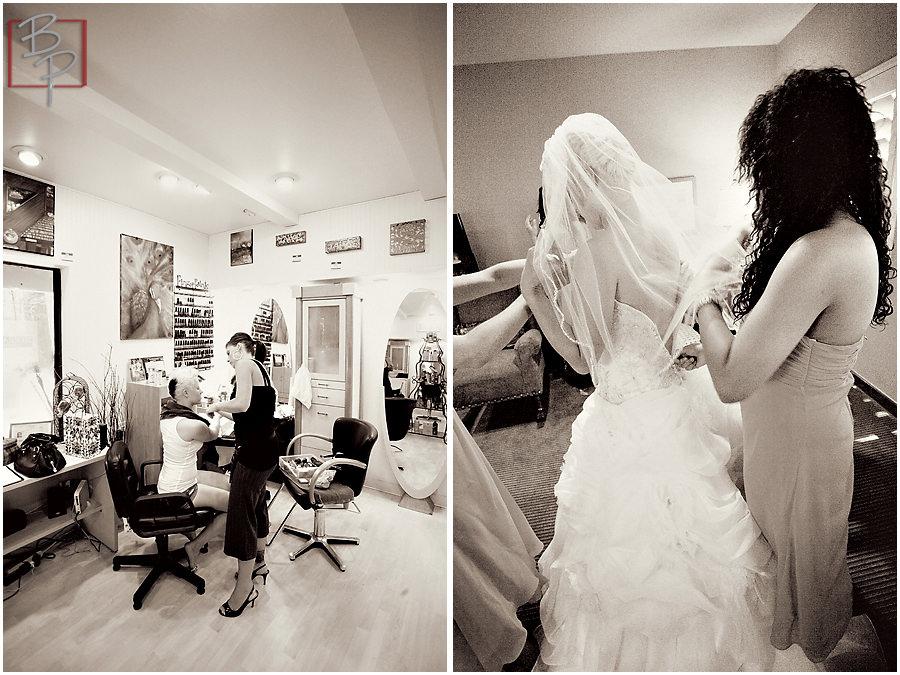 wedding dress and flower bouquet details