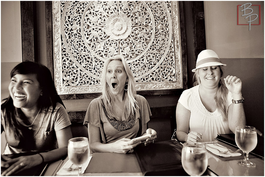 San Diego photographers joking at Siam Nara Thai Cuisine Restaurant at Mira Mesa