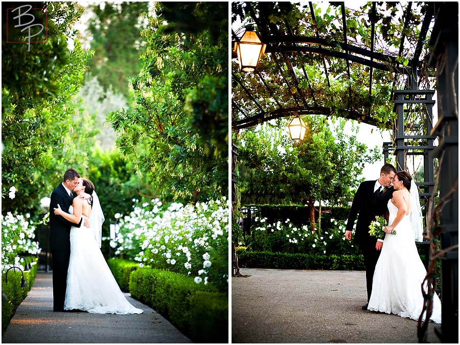 The bride and groom in the garden