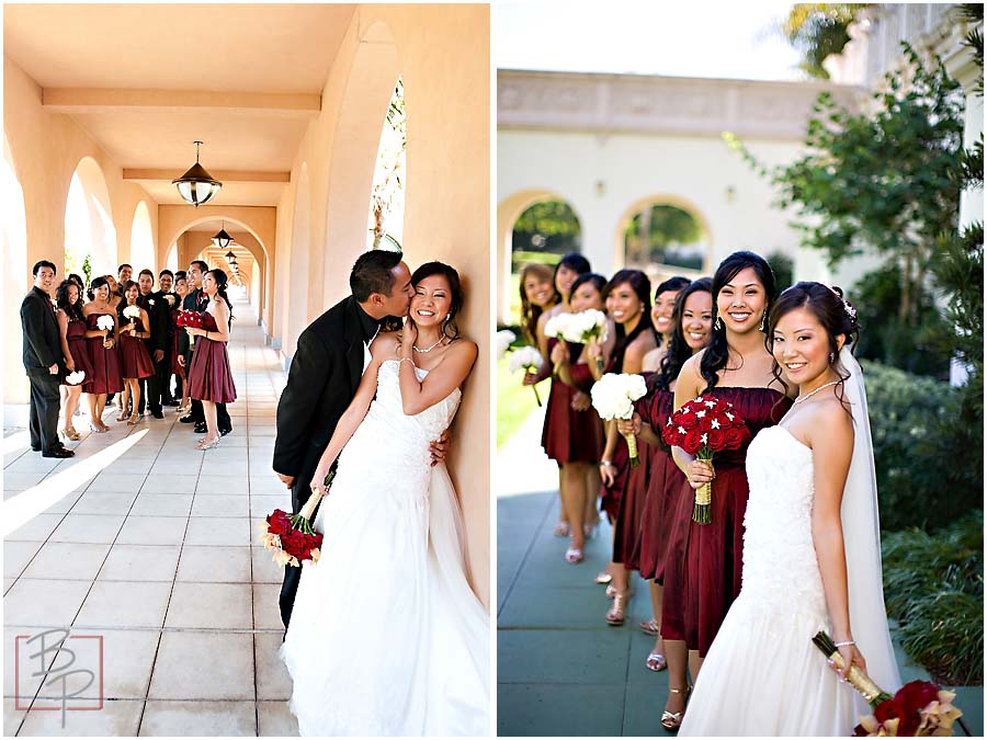 Wedding party and bride with bridesmaids