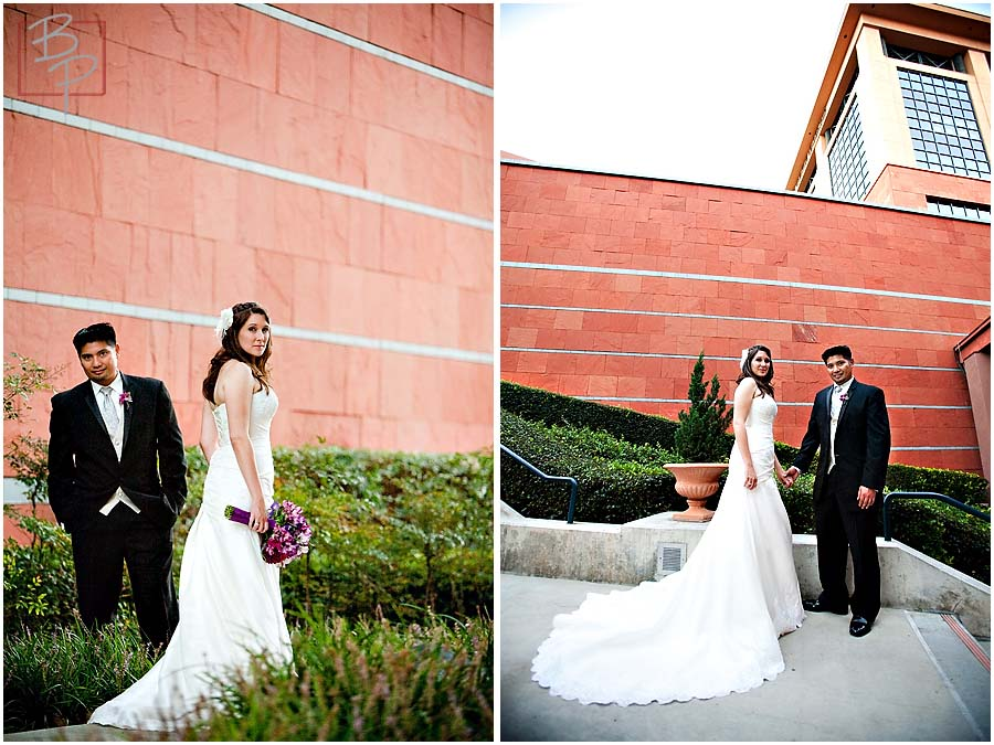 Bride and groom in an urban setting