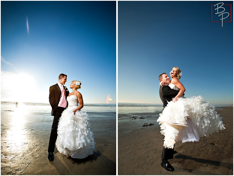 Bride and groom beach photography