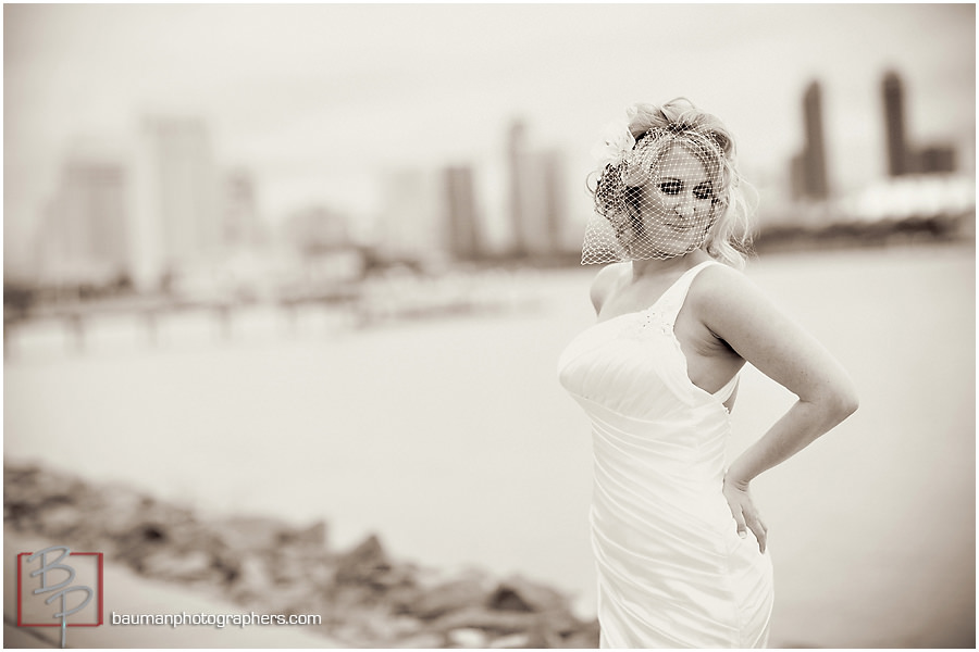 black and white bride photography San Diego