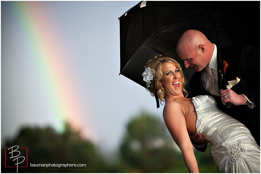Coronado portrait with rainbow of bride and groom