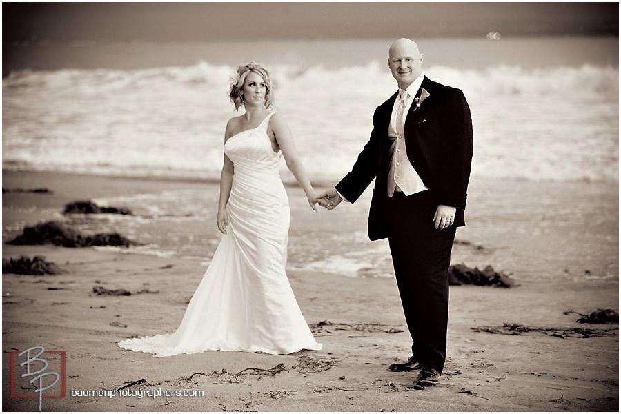 black and white San Diego beach photo