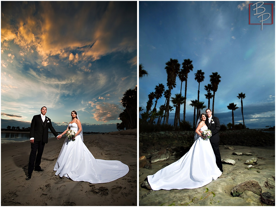 Sunset photographs of bride and groom