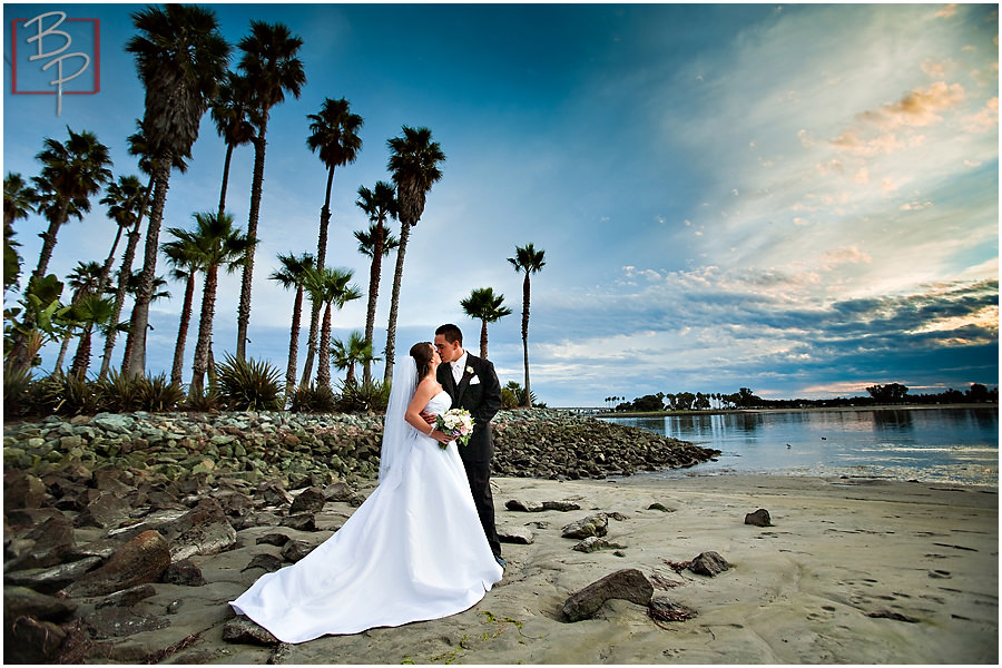 Photographs of bride and groom at the beach