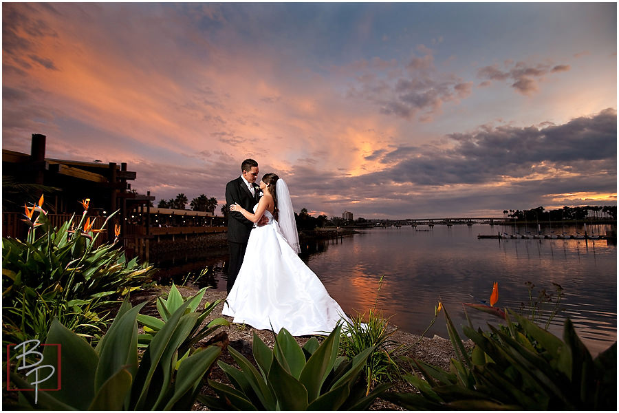 Photographing couple during sunset